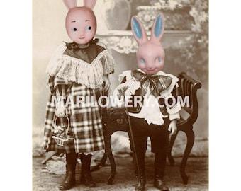 Creepy Cute Pink Plastic Rabbit Art Print, 8 x 10 Inch Print, Creepy Bunny Art, Creepy Easter Art, Anthropomorphic Art