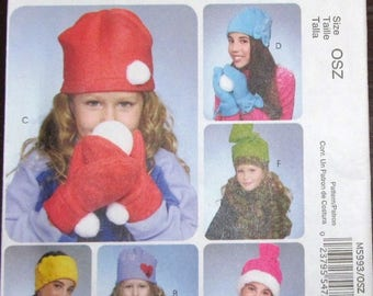 Fashion Accessories Craft Sewing Pattern McCall's 5993 Girl's Outerwear Headband Slouchy Hat Stocking Cap Mitts Mittens Size S M L Uncut FF