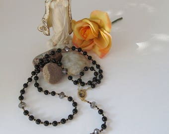 Black Obsidian and Czech Crystal Catholic Rosary