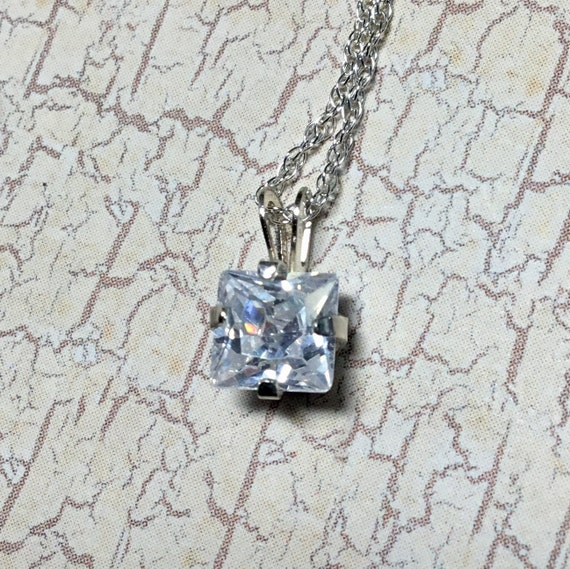 White Cubic Zirconia Necklace, Sterling Silver, 925 Silver, Women's Jewelry, Under 20 Dollars