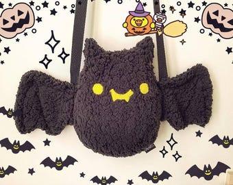 Cute Halloween Purse - Black Bat Plush Purse - Kawaii Purse, Cute Plush Purse
