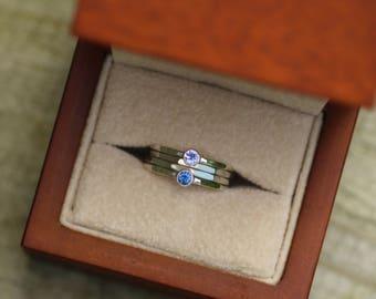 Tanzanite and Blue Sapphire Stacking Ring Set - Round Stacking Ring Set - Silver Stacking Ring Set - Blue Sapphire Stack - Tanzanite Stack