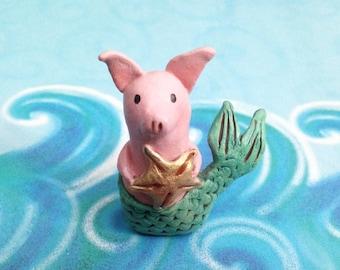 Mermaid Pig Mini Figurine - One of a Kind Art Sculpture