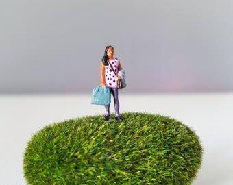 Miniature World Terrarium People Tiny Girl in Purple Polka Dot Dress HO Scale Hand painted One of a Kind Railroad