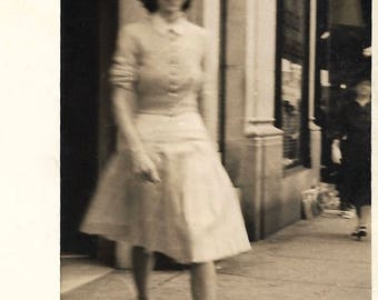 """Vintage Photo """"In Great Haste"""" Young Woman With Tiny Waist 1950's Street Photography Blur Motion Silver Gelatin Print Found Vernacular Photo"""