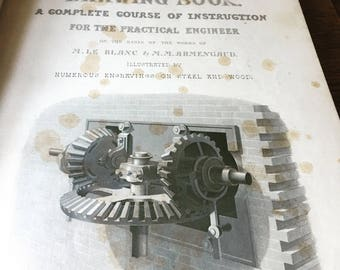 RARE- Antique 1855 Book- Engineer and Machinist's Drawing Book- Engineering Book- 1st Edition