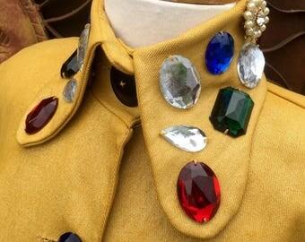 Vintage 1980's Mustard Color Jeweled Jacket, 80's Fashion, Large Jeweled Jacket, Jeweled Holiday Jacket
