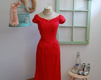 Vintage 1950s - 1960s Cherry Red Wiggle Bombshell Dress  S