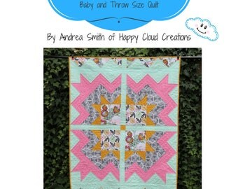 Cheerful Blossom Quilt Pattern, Baby, Crib,Toddler, lap size, half square triangles, flying geese, easy pattern