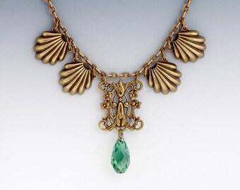 Green Swarovski Crystal Necklace, Filigree Flower Necklace, Green Crystal Pendant, Green Necklace, Swarovski Jewelry Nickel Free, Gabrjela
