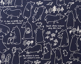 SALE | Japanese Fabric by Kokka - Kawaii Bear in Blue Linen and Cotton - 1/2 YD