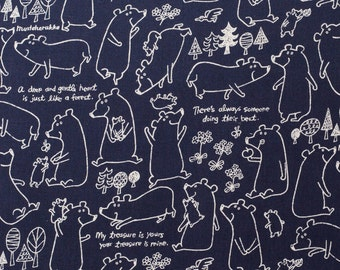 Japanese Fabric by Kokka - Kawaii Bear in Blue Linen and Cotton - 1/2 YD