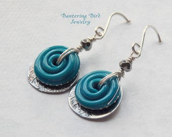 Lampwork Earrings, Blue Turquoise Glass Swirl with Textured Sterling Silver Charms and Pyrite, Sterling Silver Drop Earrings, Summer Jewelry