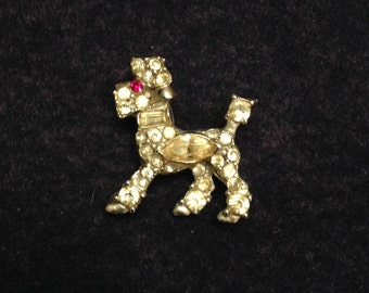 Vintage POODLE brooch PIN rhinestones French TOY Standard poodle Dog 1940s Red eye Art Deco