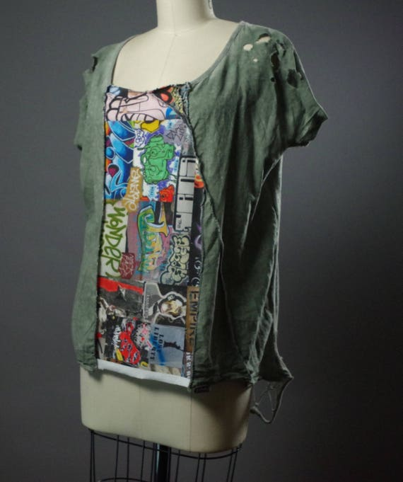 Graffiti OOAK T-shirt -Up-cycled Clothing - Graffiti T-shirt - Funky Large T-shirt - Street Wear - NYC
