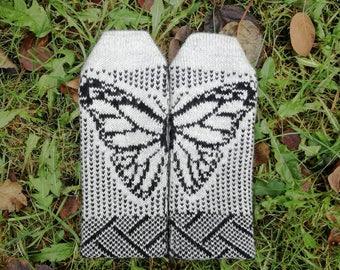 Butterfly mittens, winter mittens, knit butterfly gloves, winter accessory, knit mittens for women