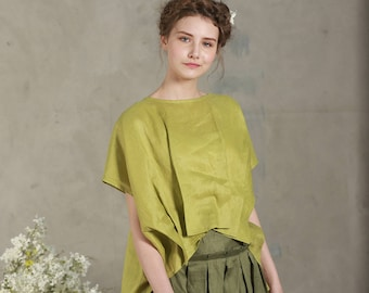 Loose linen blouse top with drop shoulder sleeves / Oversize linen top (custom colors), pleated blouse, lime green tops, pintuck shirt