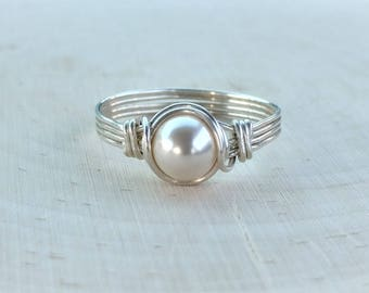 ON SALE Pearl Ring, Sterling Silver Wire Wrapped Pearl Ring, Silver Ring, Bridal Jewelry