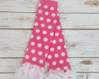 Hot Pink Polka Dot Leg Warmers, Easters Leg Warmers, Girls Leg Warmers, Baby Leg Warmers, Valentine Leg Warmers, Toddler Leg Warmers, Ruffle