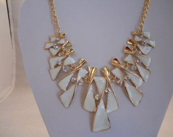 White, Gold Tone and Clear Rhinestones Bib Necklace