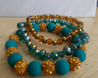 3 Stretch Bangle Bracelets made with Gold and Blue Crystal Bead and Gold Disco Beads and Turquoise Color Beads
