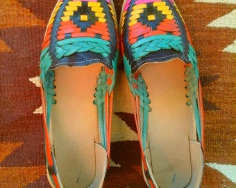 SALE Authentic Mexican Huaraches Woven Sandals Rainbow 6/6.5, 8/8.5