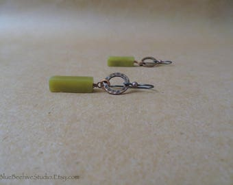 """Serpentine earrings (new """"jade"""", olive jade), hammered copper accents, niobium earwires, Gift for women, green stone earrings (E400)"""
