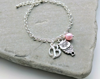 Owl Bracelet or Owl Necklace, Personalised Owl Jewellery, Owl Charm Bracelet, Owl Charm Necklace, Owl Jewellery, Owl Jewelry