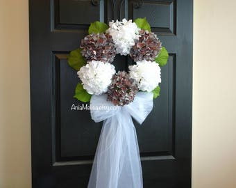 spring wreath summer wreaths for front door wreaths wedding wreaths for door-hydrangea wreath wedding-front door decorations-veil