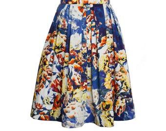 Fresh floral pleated cotton summer skirt, high waisted womens skirt, A line skirt, knee length skater skirt, blue, yellow, white