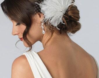 Feather Wedding Hair Clip, Ivory Bridal Hair Clip, Rhinestone Bridal Hair Clip, Wedding Hair Clip, Bridal Hair Clip, Hair Accessory ~TC-2231