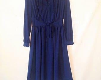 vintage navy blue dress 1970s vintage dress navy blue dress 70s 1970s seventies dress VTG secretary dress medium navy blue dress