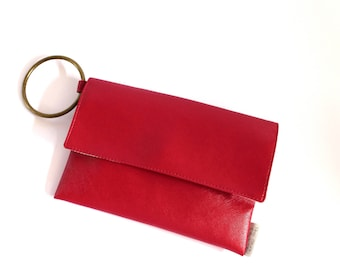 Red Wristlet Clutch, Vegan Leather Purse, Red Evening Bag, Women Evening Purse, Red Elegant Clutch, Vegan Evening Bag, Red Vegan Wallet