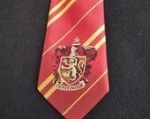 Harry Potter Gryffindor NeckTie, Hogwarts House Tie, Wizard NeckTie, Youth Birthday Gift, Kids Silk Emblem, Red and Gold Gryffindor Design