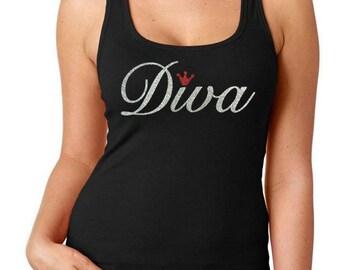 Diva//Glitter Tank Top// Diva Mom, Diva Grandmother, Diva Beauty Queen, Diva Mom, Parade Diva, Rodeo Diva, Prom Diva
