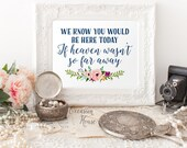 Printable Wedding Sign, We know you would be here today if heaven wasn't so far away sign, Navy Blue wedding Sign, Instant Download, WK01