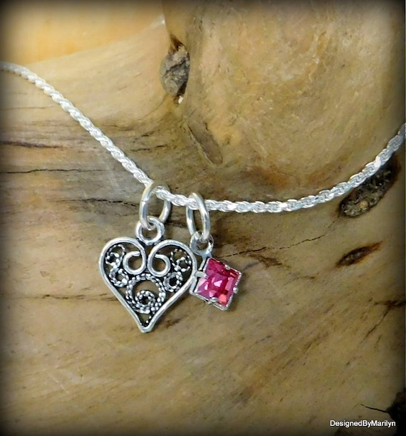 Sterling silver filigree heart jewelry, birthstone jewelry, personalized jewelry, love necklace,  charm necklace,  dainty necklace