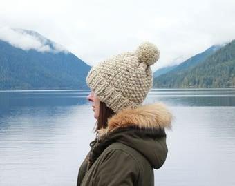 Chunky Knit Pom-Pom Wool Hat Fold-Over Cuff | THE DUBLIN