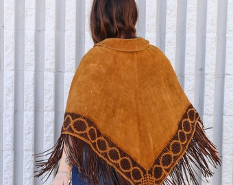 Beautiful Woven Suede Southwest Lace up Poncho Small/Medium