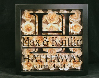 Personalized Shadowbox, Wedding Gift, Newlywed Keepsake, Personalized Family Gift, Handmade Flower Shadowbox, Personalized Couples Gift