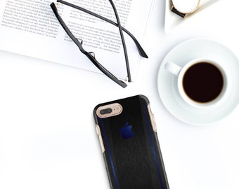 Brushed Black iPhone Case and Deep Blue Metallic Detailing - Otterbox Symmetry iPhone 6 / iPhone 7 / iPhone 8 / iPhone X - Platinum Edition