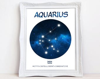 Aquarius art Zodiac constellation art print