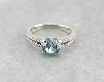 Pretty Blue Zircon Solitaire, Blue Zircon and Diamond Engagement Ring, Modern Blue Zircon Ring MPK5TJ-P