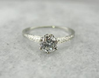 Traditional Diamond Solitaire Engagement Ring, Diamond Engagement Ring in Etched White Gold, Vintage Diamond Engagement Ring 359T2A-D
