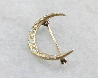 Our Honeymoon, Art Nouveau Crescent Moon Pin, Antique Floral Enamel Gold Brooch E2DUKU-R