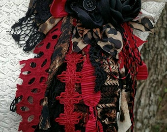 RESERVED FOR COURTHILL-Handcrafted Fabric Flower Pin-Scarlet Leopard