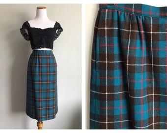 Vintage Pendleton Skirt Teal Blue Virgin Wool High Waist Plaid Pencil Skirt Knee Length Hunting Tartan Mac Kinnon Size 0 2 4 Petite XS Small