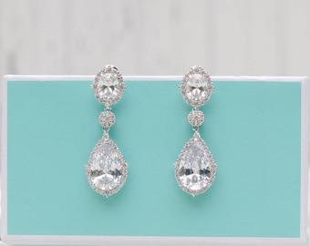Crystal Bridal earrings | Rose Gold | Gold | Chandelier Pearl Wedding Jewelry | Swarovski Wedding Earrings | Bridal Jewelry