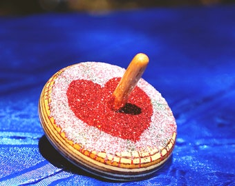 spin toy Spinning top - heart spin toy handmade wooden with glitters (dreidel) glitter dreidel