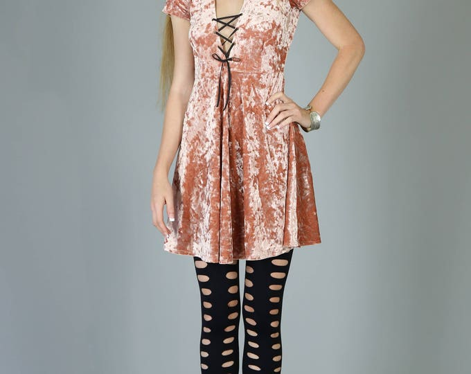 Featured listing image: Corset Neck Crushed Velvet Babydoll dress, Dusty Pink